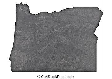 Map of Oregon on dark slate