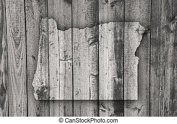 Map of Oregon on weathered wood