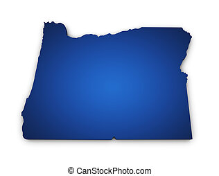 Shape 3d of Oregon state map colored in blue and isolated on white background.