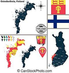 Map of Ostrobothnia, Finland - Vector map of Ostrobothnia...