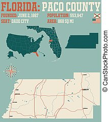 Map of Paco County in Florida