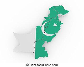 Map of Pakistan in pakistanian flag colors. 3d