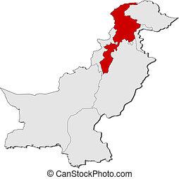 Map of Pakistan, Khyber Pakhtunkhwa highlighted