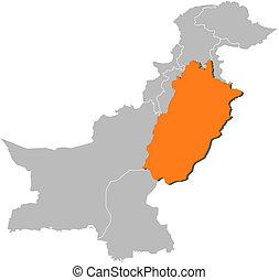 Map of Pakistan, Punjab highlighted