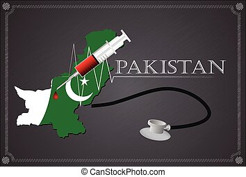 Map of pakistan with Stethoscope and syringe.