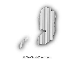 Map of Palestine on corrugated iron