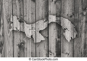 Map of Panama on weathered wood