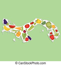 Map of Panama with fruits