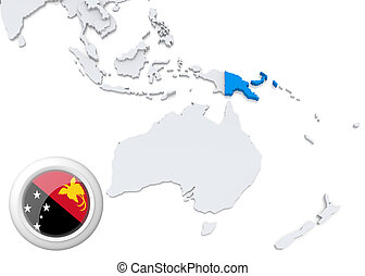 Map of Papua new guinea with national flag