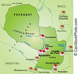 Map of Paraguay as an infographic in green
