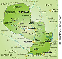 Map of Paraguay as an overview map in green