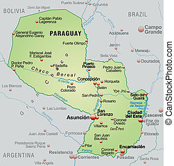 Map of Paraguay as an overview map in pastel green