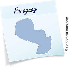 Map of Paraguay as sticky note in blue