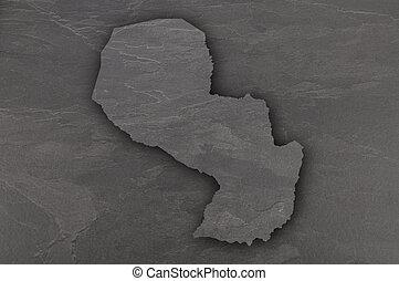 Map of Paraguay on dark slate