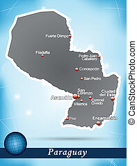 Map of Paraguay with abstract background in blue