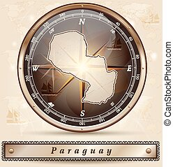 Map of Paraguay with borders in bronze