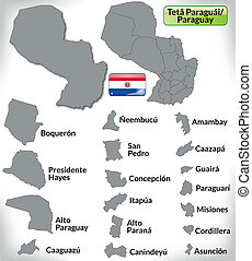 Map of Paraguay with borders in gray