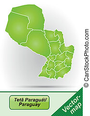 Map of Paraguay with borders in green