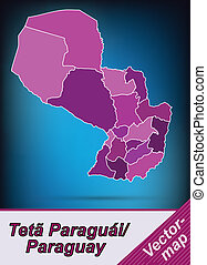 Map of Paraguay with borders in violet