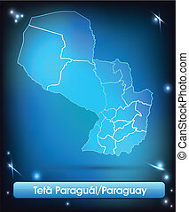 Map of Paraguay with borders with bright colors