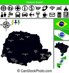 Map of Parana, Brazil