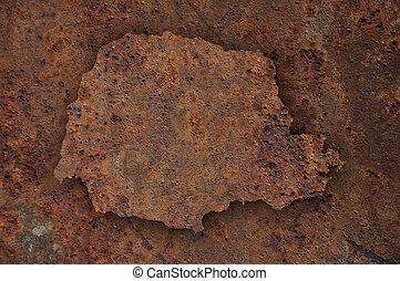 Map of Parana on rusty metal
