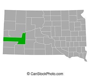Map of Pennington in South Dakota