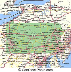 Pennsylvania - Map of Pennsylvania. Shows state borders,...