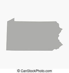 Map of Pennsylvania State in gray on a white background