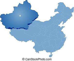 Map of People's Republic of China - Xinjiang Uyghur...