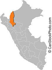 Map of Peru, Amazonas highlighted