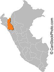 Map of Peru, Cajamarca highlighted