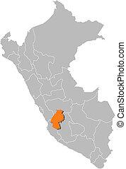 Map of Peru, Huancavelica highlighted