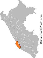Map of Peru, Ica highlighted