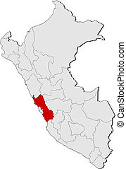 Map of Peru, Lima highlighted - Political map of Peru with...
