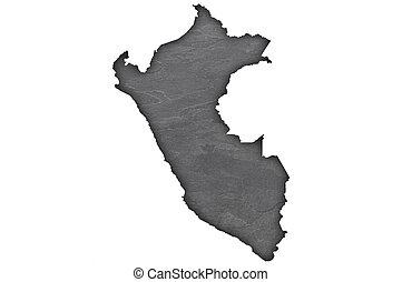 Map of Peru on dark slate