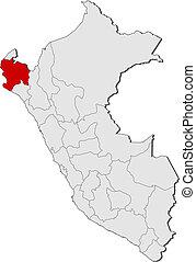 Map of Peru, Piura highlighted