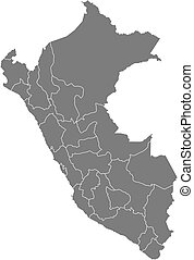 Political map of Peru with the several regions.