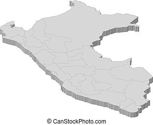 Map of Peru - Political map of Peru with the several regions...