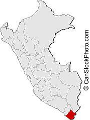 Map of Peru, Tacna highlighted
