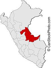 Map of Peru, Ucayali highlighted