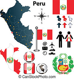 Vector of Peru set with detailed country shape with region borders, flags and icons