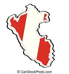 Map of Peru with its flag