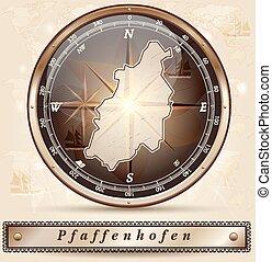 Map of Pfaffenhofen with borders in bronze