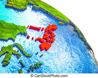 Map of Philippines on 3D Earth