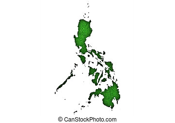 Map of Philippines on green felt
