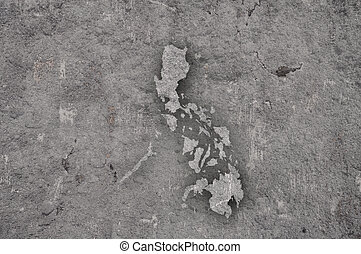 Map of Philippines on weathered concrete