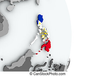 Map of Philippines with flag