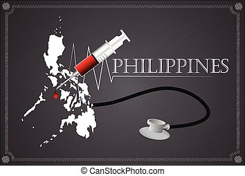 Map of Philippines with Stethoscope and syringe.
