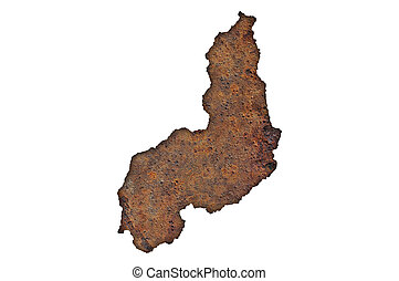 Map of Piaui on rusty metal